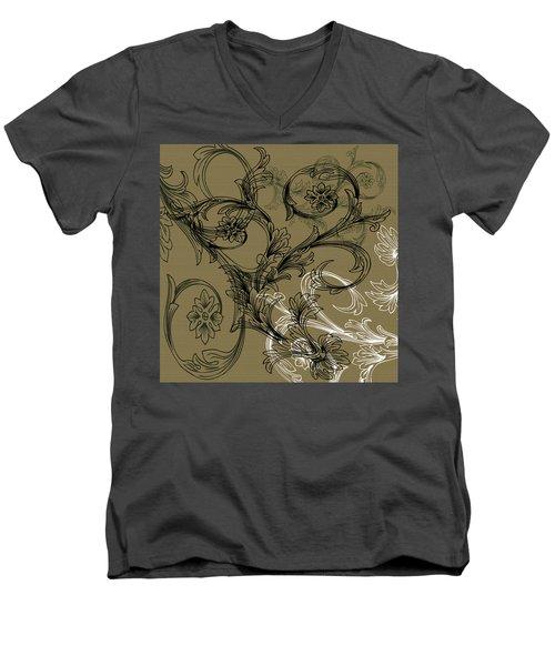 Coffee Flowers 3 Olive Men's V-Neck T-Shirt