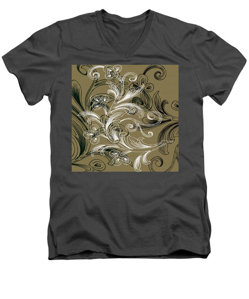 Coffee Flowers 4 Olive Men's V-Neck T-Shirt