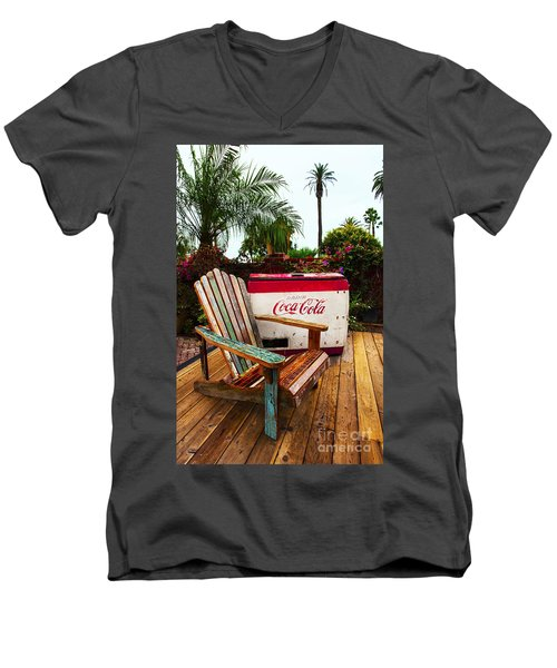 Men's V-Neck T-Shirt featuring the photograph Vintage Coke Machine With Adirondack Chair by Jerry Cowart