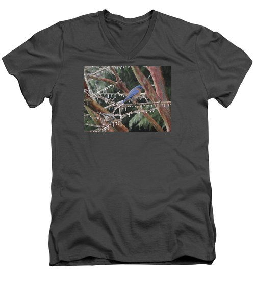 Men's V-Neck T-Shirt featuring the photograph Cold And Blue by Marilyn Zalatan