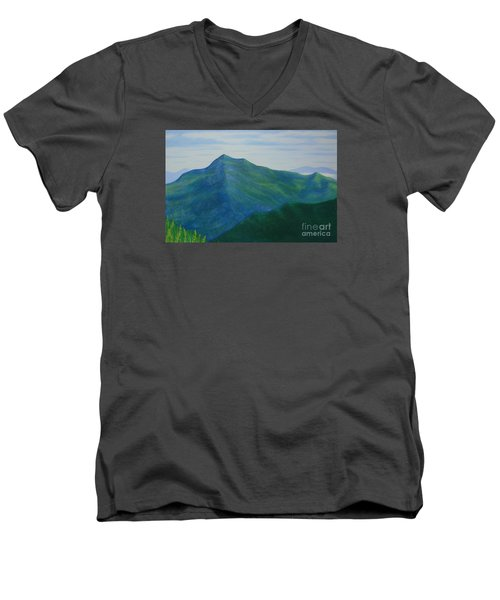 Men's V-Neck T-Shirt featuring the painting Cold Mountain by Stacy C Bottoms