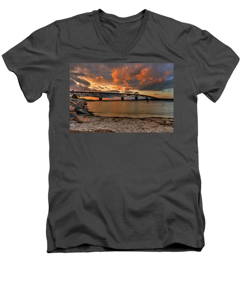 Coleman Bridge At Sunset Men's V-Neck T-Shirt