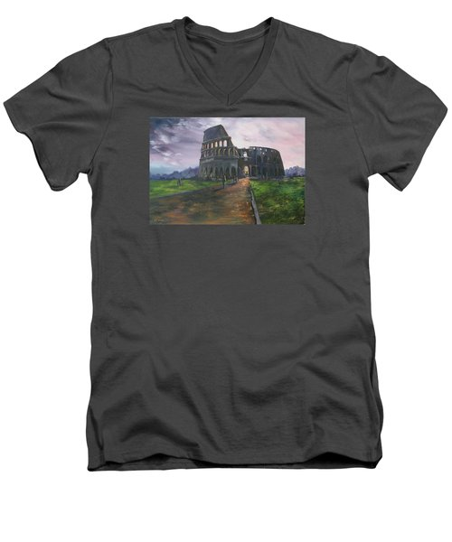 Men's V-Neck T-Shirt featuring the painting Coliseum Rome by Jean Walker