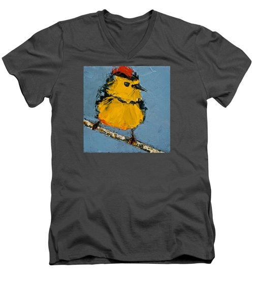Men's V-Neck T-Shirt featuring the painting Collard Redstart by Jani Freimann