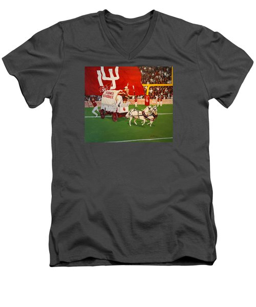 Men's V-Neck T-Shirt featuring the painting College Football In America by Alan Lakin
