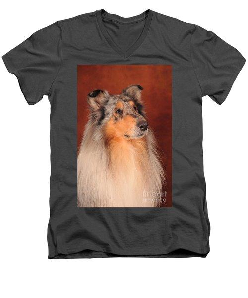 Collie Portrait Men's V-Neck T-Shirt by Randi Grace Nilsberg
