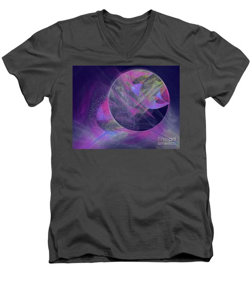 Men's V-Neck T-Shirt featuring the digital art Collision by Victoria Harrington