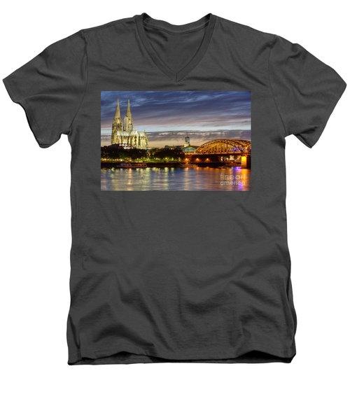 Cologne Cathedral With Rhine Riverside Men's V-Neck T-Shirt
