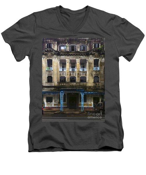 Men's V-Neck T-Shirt featuring the photograph Colonial Facade Merchant Street 8th Ward Central Yangon Burma by Ralph A  Ledergerber-Photography