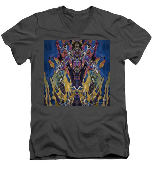 Color Abstraction Xxi Men's V-Neck T-Shirt by David Gordon