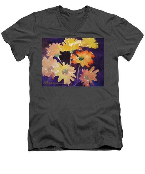 Men's V-Neck T-Shirt featuring the painting Color And Whimsy by Marilyn Jacobson
