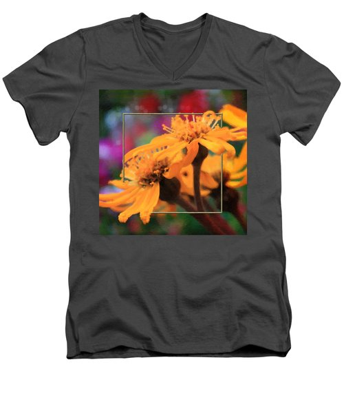 Men's V-Neck T-Shirt featuring the photograph Color Pizzaz With Collaged Textures by Sandra Foster