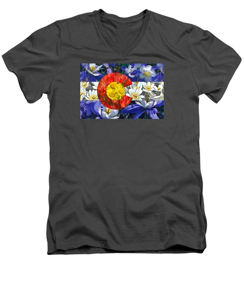 Colorado State Flag With Wildflower Textures Men's V-Neck T-Shirt by Aaron Spong