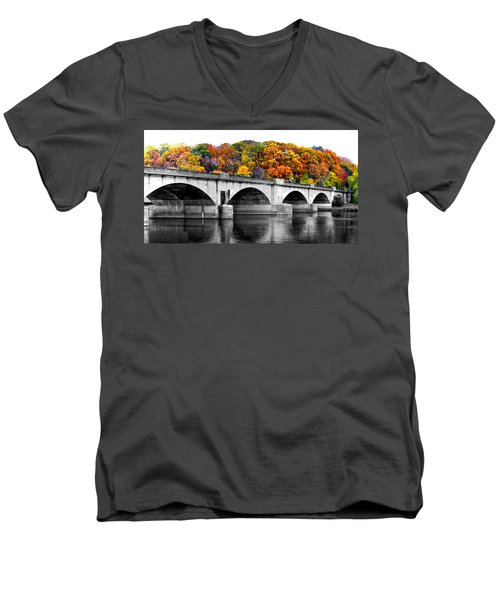 Men's V-Neck T-Shirt featuring the photograph Colorful Bridge by Alice Gipson