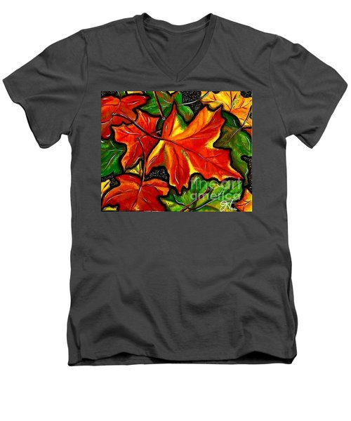 Men's V-Neck T-Shirt featuring the painting Colorful Carpet by Jackie Carpenter