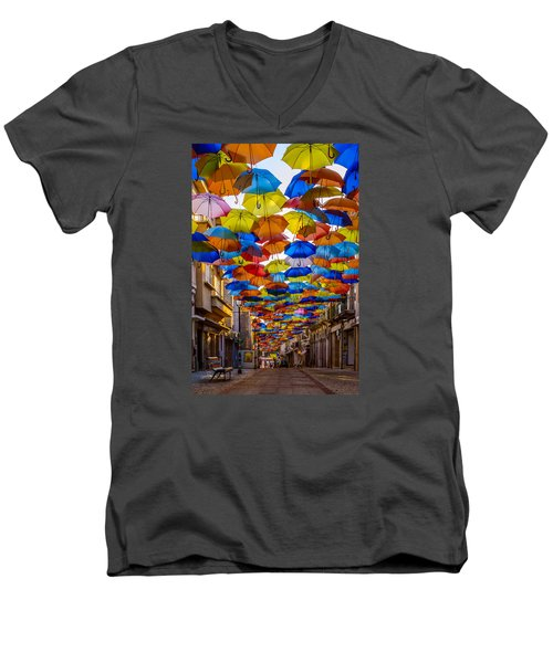 Colorful Floating Umbrellas Men's V-Neck T-Shirt