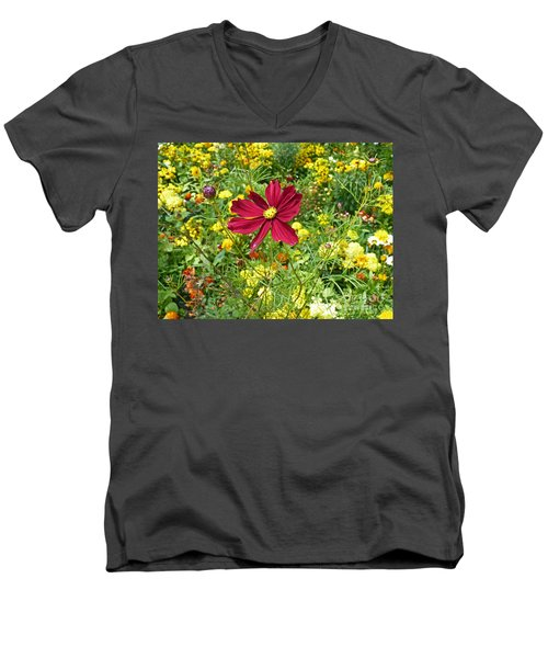 Colorful Flower Meadow With Great Red Blossom Men's V-Neck T-Shirt