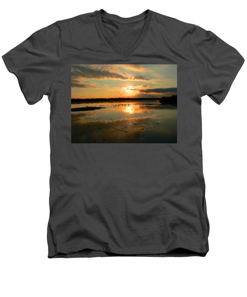 Men's V-Neck T-Shirt featuring the photograph Colorful Light by Rosalie Scanlon