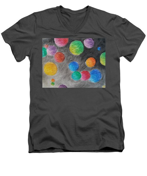Men's V-Neck T-Shirt featuring the drawing Colorful Orbs by Thomasina Durkay