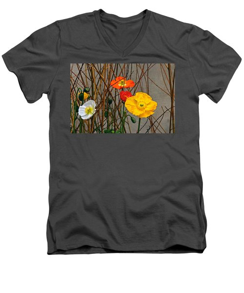 Colorful Poppies And White Willow Stems Men's V-Neck T-Shirt