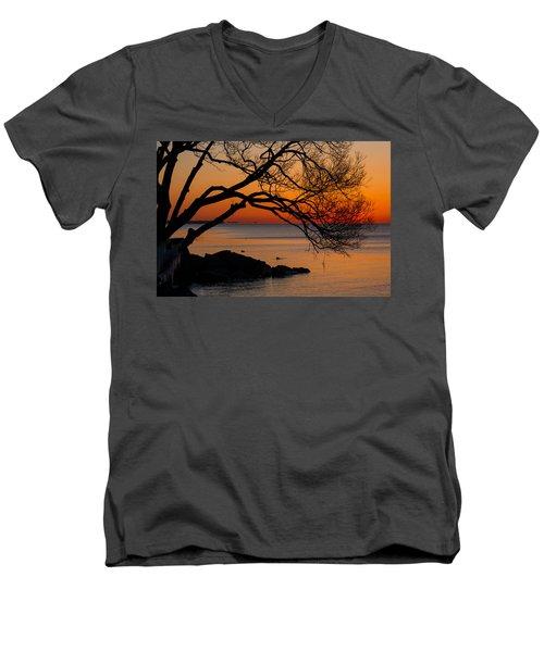 Colorful Quiet Sunrise On Lake Ontario In Toronto Men's V-Neck T-Shirt by Georgia Mizuleva