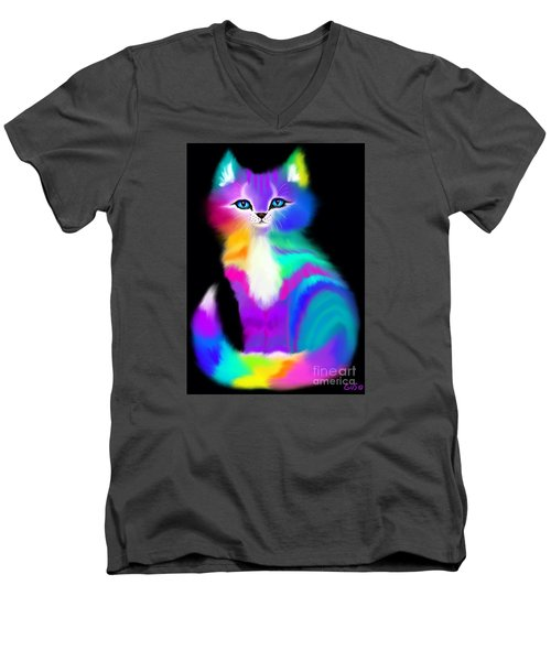 Colorful Striped Rainbow Cat Men's V-Neck T-Shirt by Nick Gustafson