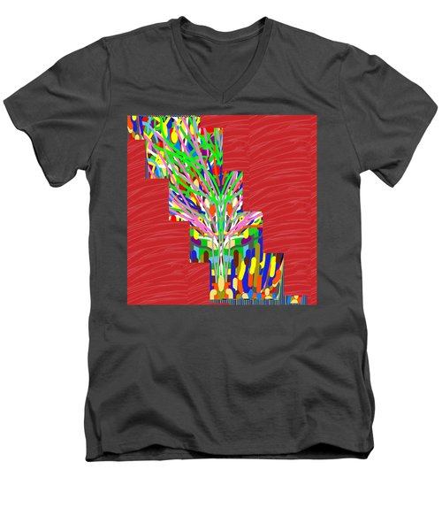 Men's V-Neck T-Shirt featuring the photograph Colorful Tree Of Life Abstract Red Sparkle Base by Navin Joshi