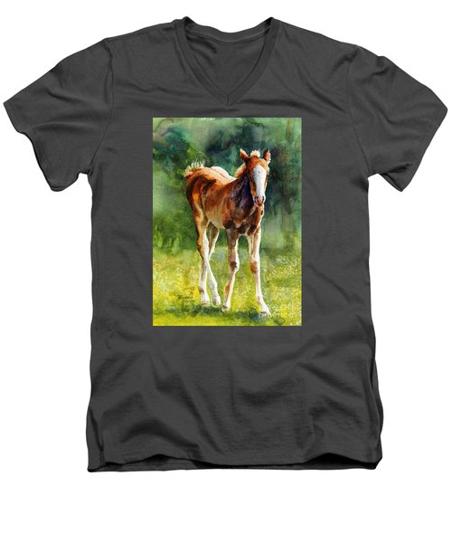 Colt In Green Pastures Men's V-Neck T-Shirt by Bonnie Rinier