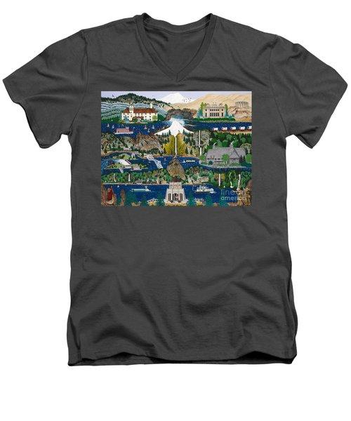 Columbia River Gorge Men's V-Neck T-Shirt by Jennifer Lake