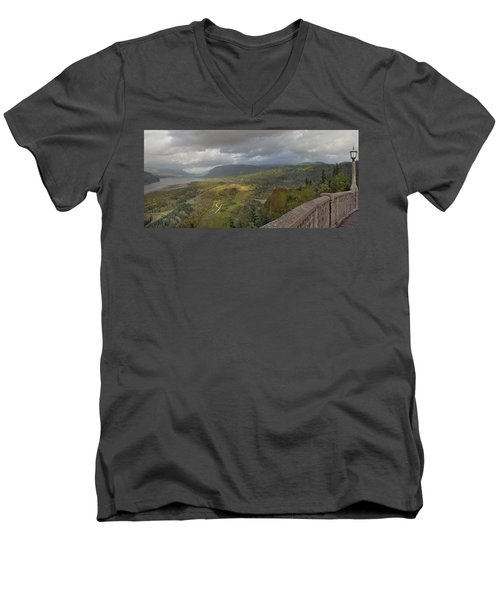 Men's V-Neck T-Shirt featuring the photograph Columbia River Gorge View From Crown Point by JPLDesigns