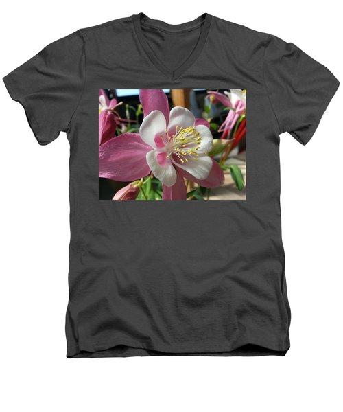 Men's V-Neck T-Shirt featuring the photograph Columbine by Caryl J Bohn