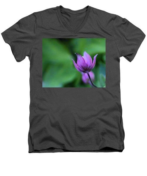 Columbine Flower Bud Men's V-Neck T-Shirt by Kathy Eickenberg