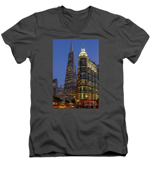 Columbus And Transamerica Buildings Men's V-Neck T-Shirt by Jerry Fornarotto