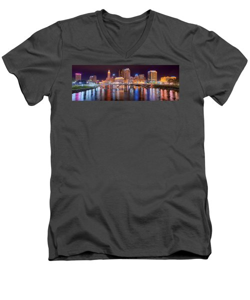 Columbus Skyline At Night Color Panorama Ohio Men's V-Neck T-Shirt by Jon Holiday