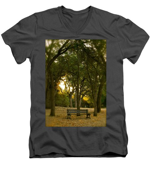 Come Sit Awhile Men's V-Neck T-Shirt by Michele Myers