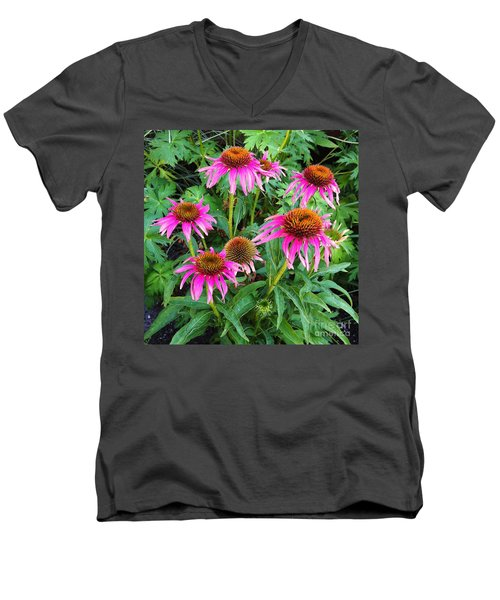 Men's V-Neck T-Shirt featuring the photograph Comely Coneflowers by Meghan at FireBonnet Art