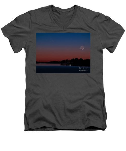 Comet Panstarrs And Crescent Moon Men's V-Neck T-Shirt