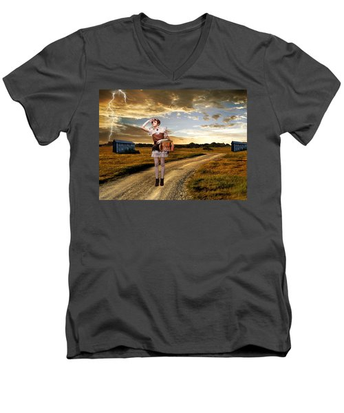 Men's V-Neck T-Shirt featuring the photograph Coming Home by Ester  Rogers