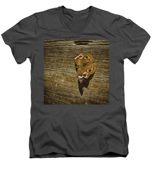 Common Buckeye With Torn Wing Men's V-Neck T-Shirt by Lynn Palmer