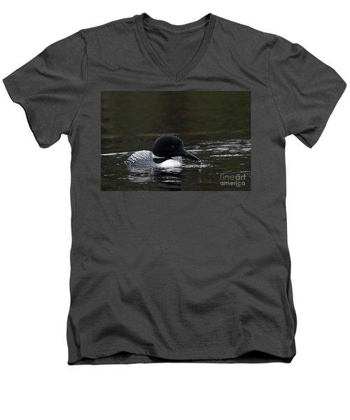 Common Loon 1 Men's V-Neck T-Shirt by Larry Ricker