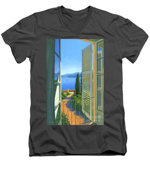 Men's V-Neck T-Shirt featuring the painting Como View by Michael Swanson