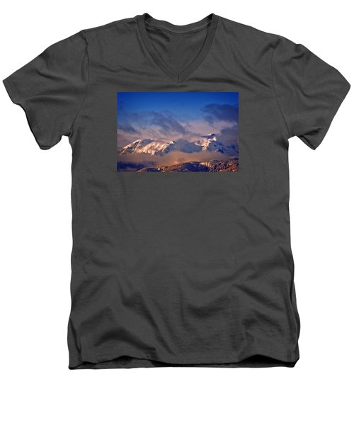 Men's V-Neck T-Shirt featuring the photograph Comox Glacier And Morning Mist by Richard Farrington