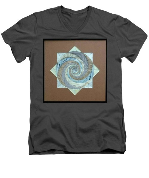 Men's V-Neck T-Shirt featuring the mixed media Compass Headings by Ron Davidson
