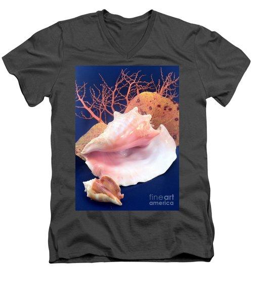 Conch Still Life Men's V-Neck T-Shirt by Barbie Corbett-Newmin