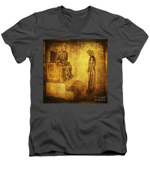 Condemned Via Dolorosa1 Men's V-Neck T-Shirt by Lianne Schneider