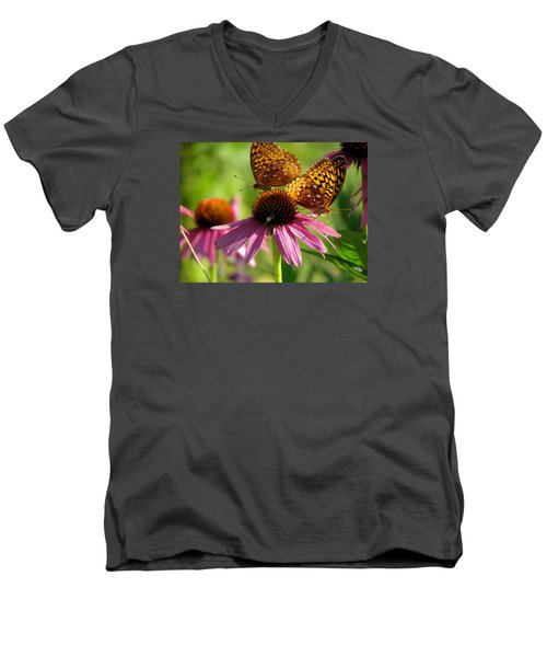 Coneflower Butterflies Men's V-Neck T-Shirt