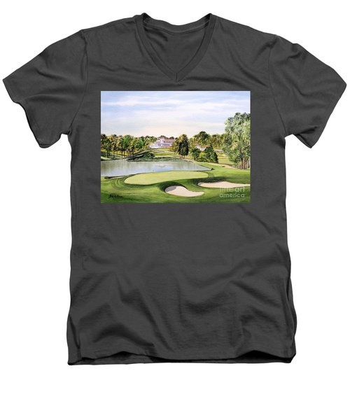 Men's V-Neck T-Shirt featuring the painting Congressional Golf Course 10th Hole by Bill Holkham