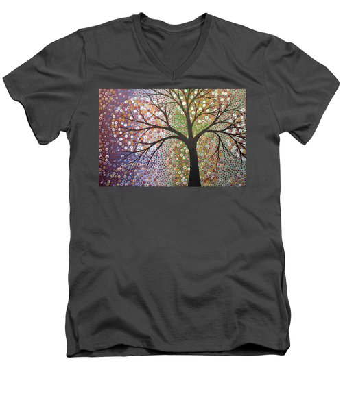 Men's V-Neck T-Shirt featuring the painting Constellations by Amy Giacomelli
