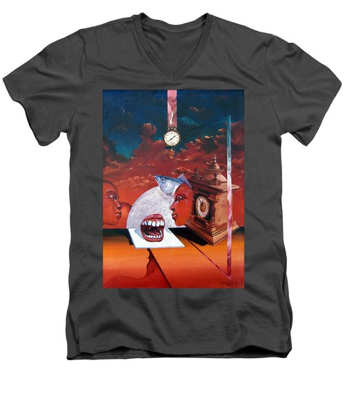 Consumption Of Time  Men's V-Neck T-Shirt by Otto Rapp