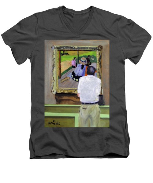 Men's V-Neck T-Shirt featuring the painting Contemplating Gauguin by Michael Daniels